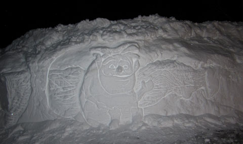 snow carving face